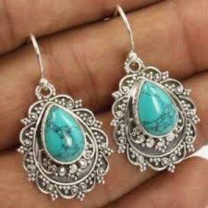 Tibetan Turquoise Boho 925 Silver Earrings